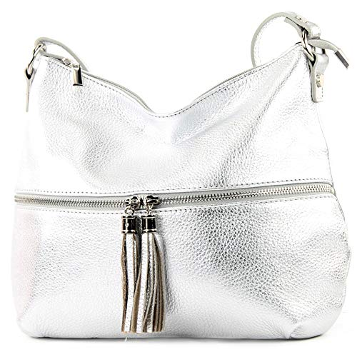 modamoda de - T159 - ital Umhänge-/Schultertasche aus Leder, Farbe:Silber