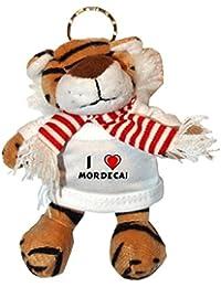 Tigre de peluche (llavero) con Amo Mordecai en la camiseta (nombre de pila/apellido/apodo)