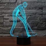 Golf Swing LED NightLight 7 colori Atmosfera Sonno Illuminazione Comodino Decor USB 3D Golfer Uomo pronto posizione