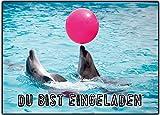 11er Set Delfin Einladungskarten zum Kindergeburtstag ausgefallen Mädchen Jungen - 11 Stück Schwimmbad schwimmen Poolparty