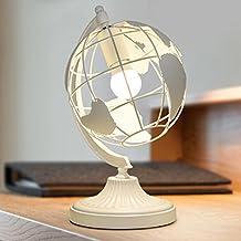 JIAHONG Estilo europeo globo creativo hueco pantalla de la cabecera mesita escritorio escritorio escritorio de iluminación decoración de lectura lámpara LED ( Color : White )