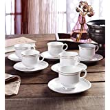 Art. Lite. Ceramic Bone China Gold Line Tea & Coffee Cups Mugs (Set Of 12-6 Cups & 6 Saucer) 170 Ml