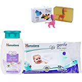 Herbals Gentle Baby Bath (100ml)+Himalaya Herbals Gentle Baby Wipes (72 Sheets) With Happy Baby Luxurious Kids Soap With Toy (100gm)