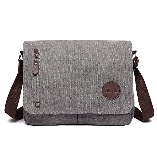 Kono Messenger Bag Umhängetasche Herren Canvas Schultertasche Kuriertasche Herrentasche Tasche Arbeit Arbeitstasche Laptoptasche (Grau)