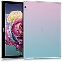 kwmobile Funda para Huawei MediaPad T3 10 - Case protector para tablet de silicona TPU - Cover trasero en rosa fucsia azul transparente