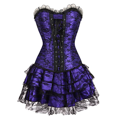 Women's Black Trim Ruffle Satin Halloween Dress Corset & Lace mini tutu Skirt Set for Moulin Rouge Showgirl Clubwear Purple-2XL-Purple (Ruffle Trim Bustier)