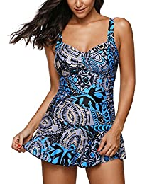 be4aad8d9d39 Zando One Piece Swimsuits Swimdress Printed Boyleg Swimdresses Swim Dress  Skirt Swimwear Bathing Suits for Women