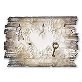 Kreative Feder Papierherz Designer Schlüsselbrett, Hakenleiste Landhaus Style, Shabby aus Holz 30x20cm, HSB053