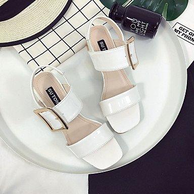 LvYuan Da donna Sandali PU (Poliuretano) Estate Footing Fibbia Heel di blocco Bianco Nero Tessuto almond 5 - 7 cm White