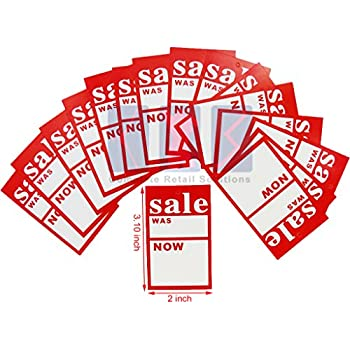 S Size : 7.5 x 5cm 500 x /'SALE WAS NOW/' TAGGING COAT HANGER SWING TICKETS