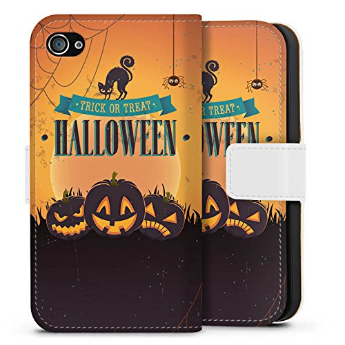 Apple iPhone X Silikon Hülle Case Schutzhülle Halloween Kürbis Trick Or Treat Sideflip Tasche weiß