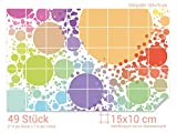 GRAZDesign 766211_15x10_70 Fliesenaufkleber Bunte Punkte für Deine Kacheln | Wand-Deko für Bad/Küchen-Fliesen (Fliesenmaß: 15x10cm (BxH)//Bild: 105x70cm (BxH))