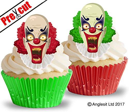 vorgeschnittenen gruseligen Clowns essbarem Reispapier/Waffel Papier Cupcake Kuchen Topper Halloween Party Dekorationen