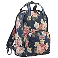Cath Kidston Matt Oilcloth Multi Pocket Backpack Laptop Rucksack Richmond Rose Dark Navy