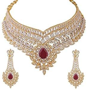 Heena Jewellery Red brass Necklace Set For Women