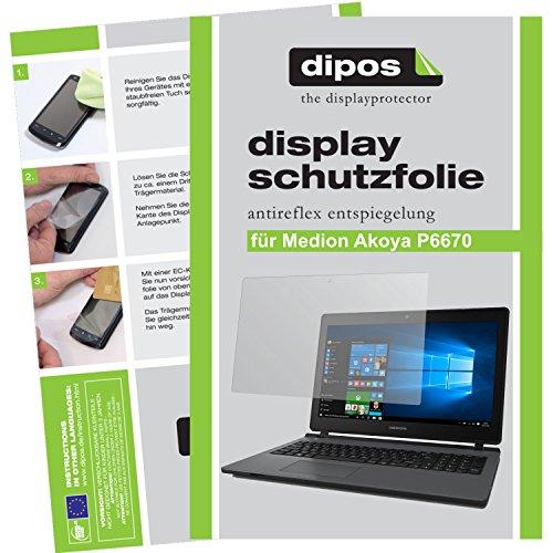 dipos I 2X Schutzfolie matt passend für Medion Akoya P6670 Folie Bildschirmschutzfolie