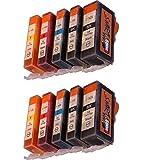 10 Druckerpatronen für Canon mit Chip, ersetzt PGI-525BK schwarz, CLI-526BK schwarz, CLI-526C cyan, CLI-526M rot, CLI-526Y gelb