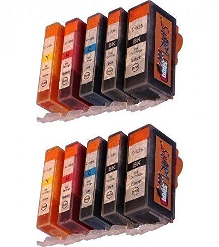 Start - 10 XL Tintenpatronen als Ersatz für Canon PGI-525BK schwarz, CLI-526BK schwarz, CLI-526C cyan, CLI-526M rot, CLI-526Y gelb -