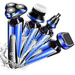 A-TION Afeitadora Electrica Hombre, Afeitadora Barba IP7 Impermeable Maquina de Afeitar 4 en 1, Inalambrica Carga Rápida y Mojado Recortadora de Precision Barba con LED Botón Táctil (Azul)