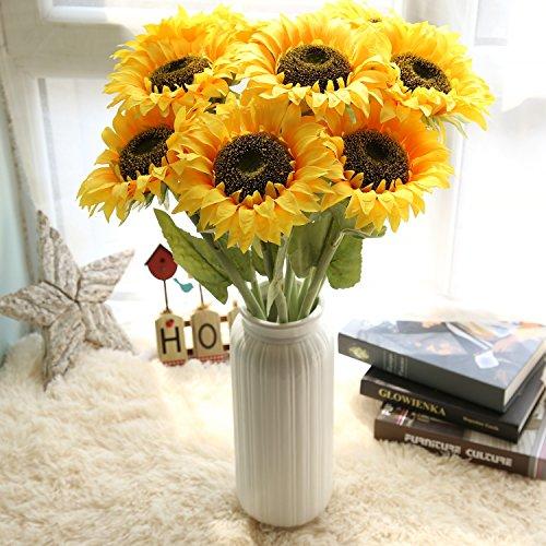 jycra Künstliche Sonnenblume, 7pcs Schöne Simulation Sonnenblume Silk Flower Bouquet für Home Hotel Büro Hochzeit Party Garten Craft Art Decor (gelb)