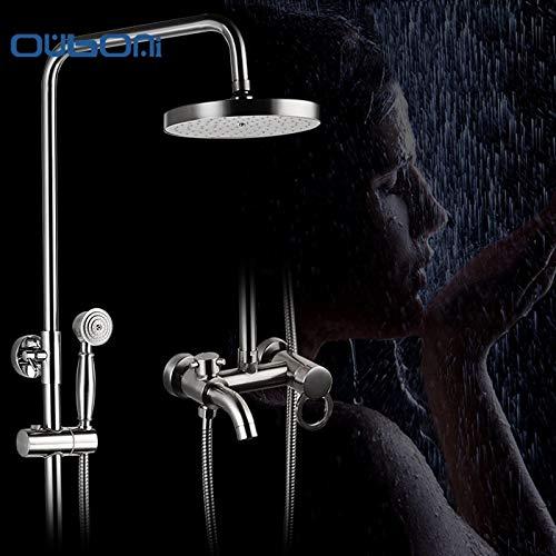 Prägnanten Stil Bad Dusche Wasserhahn Set Nickel gebürstet Regen Duschkopf Badewanne Mischbatterie mit Handspray Wand montiert (Regen Duschkopf Nickel Gebürstet)