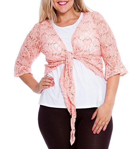 Amberclothing Cardigan boléro grande taille court à dentelle et à paillettes pour femme Motif floral Pêche