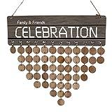 Baoblaze Kalender, Holz Kalender, Geburtstag Jahrestag zum Notizen, Datum Schilder zum Aufhängen - Family Tree