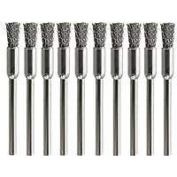 KUNSE 10Pcs 3 Mm Caña De Alambre Cepillo De Acero Inoxidable Cabeza Eliminación De Polvo Burr Desoxidar Pincel
