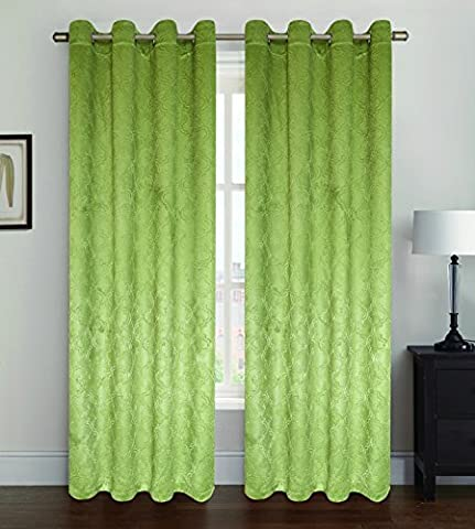 Kashi Home Paige Collection Blackout Window Panel / Curtain / Drape 53x 84 Subtle Textured Design in Olive - Single Panel, Grommet Top Panel by Kashi Home