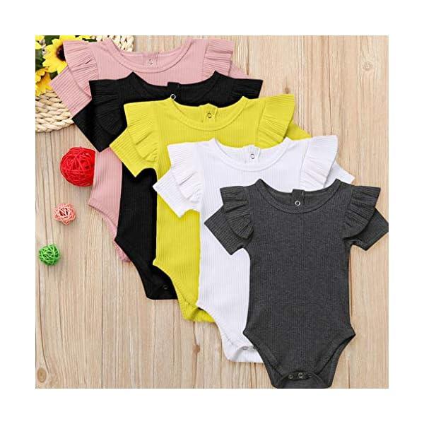 MAYOGO Mono Bebé Niña Verano Mangas Cortas con Volantes Bebé Body Fotografia Ropa de Bebe Niñas Bodies Fiesta Bebe… 2