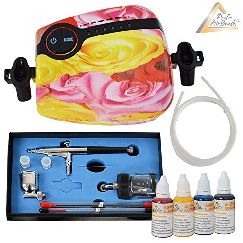 AirBrush KOMPRESSOR SET CARRY II ROSA Airbrushfarben UNIVERSAL AIRBRUSHPISTOLE DOUBLE ACTION mit 0,2/0,3/0,5mm Düsen, Fließbecher+Glas OPTIMALES Airbrush-Kit für alle Anfänger zum Kennenlernen der Techniken