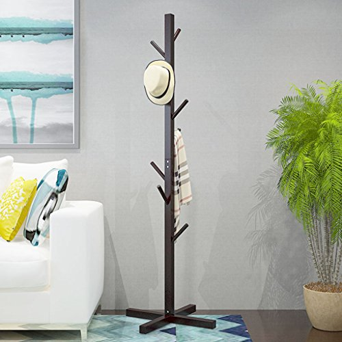 LYM Stehender Huthänger Mantel Hut Rack Holz Stand, Hall Baum mit 8 Haken Display Stand Einfache Montage von Regalen ( Farbe : B , größe : 172*56CM )