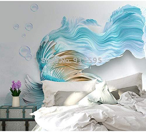 Peacock Print Seide (ZAMLE Benutzerdefinierte 3D-Wandtapete Moderne 3D-Zusammenfassung Blue Peacock TV-Hintergrundwand Wohnzimmer Schlafzimmer wasserdichte Wandtapete, 350x245 cm (137.8 by 96.5 in))