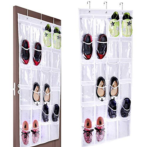 Bestzy portascarpe da porta con 24 tasche sneaker scarpiera, piccoli oggetti trasparente borsa,sturdy 24 grandi tasche portaoggetti in rete, white