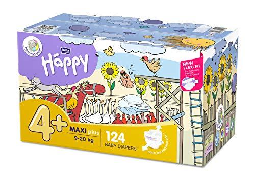 Bella Baby Happy Windeln Größe 4 + Maxi Plus, 1er Pack (1 x 124 Stück)