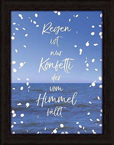 Artland Wand-Bild Poster Kunstdruck mit Rahmen Jule Regen ist nur Konfetti Statement Bilder Sprüche & Texte Digitale Kunst Blau C7LP
