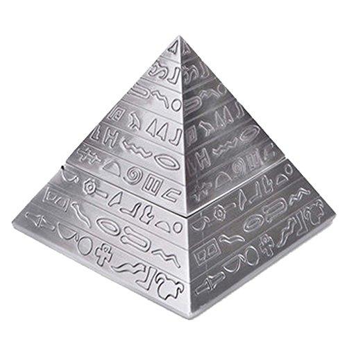 Max & Mix Creative Fashion Pyramide Aschenbecher Aschenbecher mit einem Deckel von ASCHE R ¨ ¦ Tro Carving Tablett porte-rangement Bo? Te-Aufbewahrungsbeutel Home Decor Bar für Männer Raucher silber