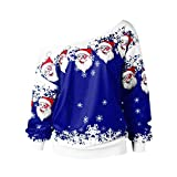 VEMOW Heißer Elegante Damen Frauen Frohe Weihnachten Weihnachtsmann Print Skew Kragen Casual Daily Party Freizeit Sweatshirt Bluse(Blau, 34 DE/M CN