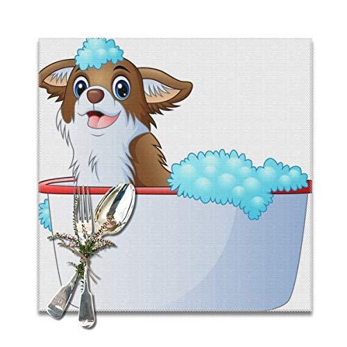 Dataqe Platzdeckchen mit süßem Hund auf weißem Hintergrund, zusammenklappbar, Küchendekoration, waschbar, 30,5 x 30,5 cm, 6 Stück (Weißen Zusammenklappbar Hintergrund)