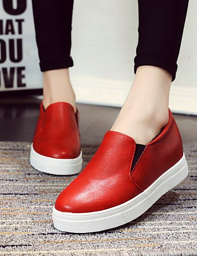 ZQ gyht Scarpe Donna - Mocassini - Tempo libero / Casual - Punta arrotondata - Basso - Finta pelle - Nero / Rosso / Bianco , red-us8 / eu39 / uk6 / cn39 , red-us8 / eu39 / uk6 / cn39 black-us8 / eu39 / uk6 / cn39