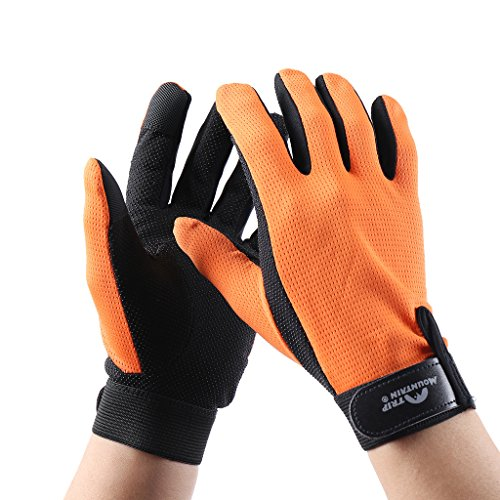 HYSENM Trikot Atmungsaktiv Schnell-Trocken Leicht Weich Warm-Halten Rutschfest Handschuhe Für Herren Und Damen Outdoor Camping Angeln Jagen Fahrrad Bergsteigen Gloves, orange, L