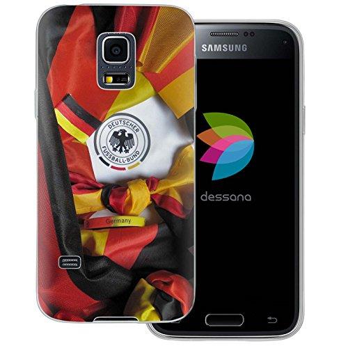 dessana Fußball WM Weltmeisterschaft transparente Silikon TPU Schutzhülle dünne Handy Tasche Soft Case für Samsung Galaxy S5 mini Fußball Fan Artikel