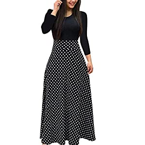 YCQUE Mode Frauen Herbst Vintage Retro Langarm Floral Boho Print Langarm Maxi Kleid Damen Casual Oansatz A-Linie Kleid