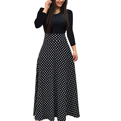 iHENGH Robe Boheme,Femmes Mode Casual Retro Manches Longues Imprimé Floral Boho Longue Robe Maxi pour Dames Tenue DéContractéE Dress