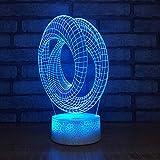 Anillo de acrílico luz de la noche 3d pantalla de escritorio creativa llevó la lámpara del niño colorida decorativa accesorios de luz 3d