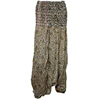 Mogul Interior Women's Hippie Harem Pants Green Paisley Printed Sari Yoga Jumpsuit One Size