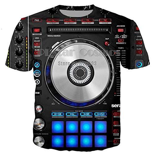 XMDNYE Mens Sommer Tees Audio Musik DJ 3D gedruckt T-Shirt für Frauen/Männer Disc Disco T-Shirt Streetwear Dropshipping