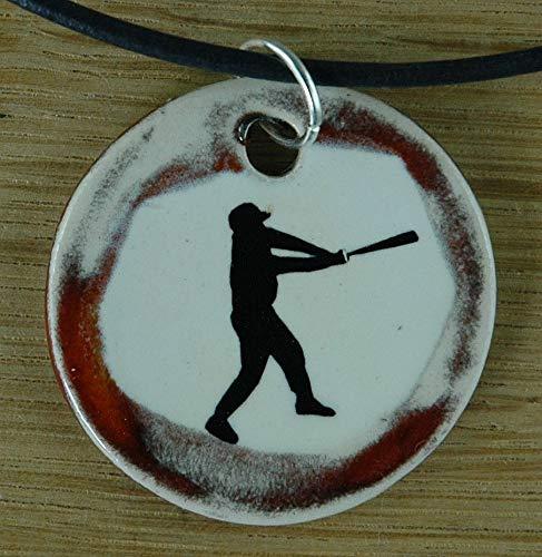 Echtes Kunsthandwerk: Schöner Keramik Anhänger mit einem Baseballspieler, Baseball, Sport, USA, Mann -