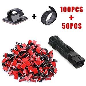 kabelmanagement system kabel clips und klettverschluss 100 st ck selbstklebend kabelhalter 50. Black Bedroom Furniture Sets. Home Design Ideas