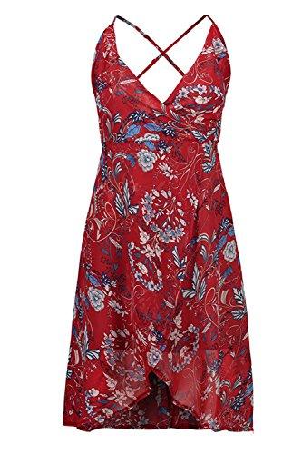 Babyonline® Damen Sommer Chiffonkleid Midi Strandkleid, Geblümt Rot